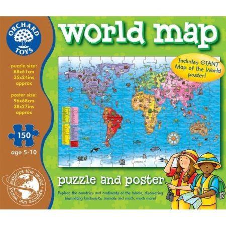 Világtérkép puzzle és poszter ORCHARD 280